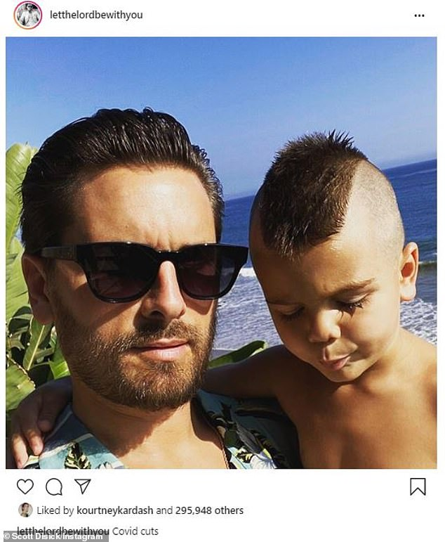'Covid cuts': the doting dad posted a pictures with his youngest child, which showed off the five-year-old's short mohawk on Saturday