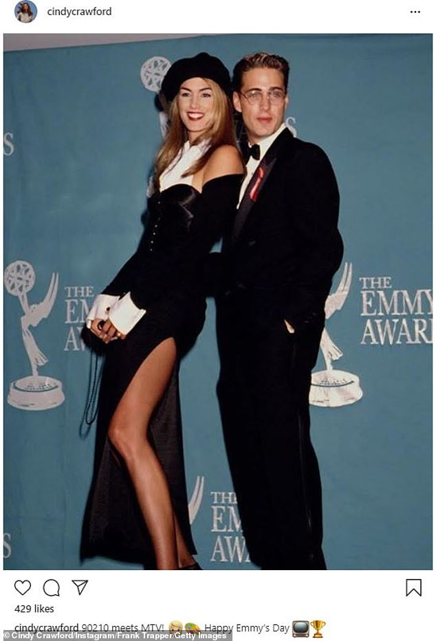 Classic: Ahead of Sunday's all-virtual Emmys, supermodel Cindy Crawford shared an iconic snap of herself from the 44th Annual Primetime Emmy Awards in 1992
