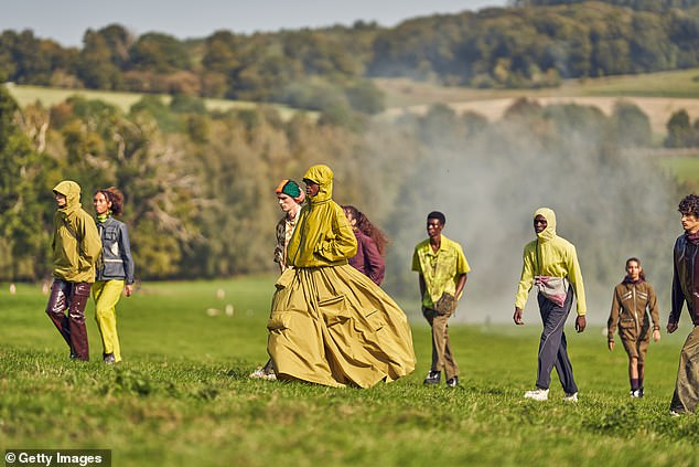 Paria Farzaneh's London Fashion Week event took place onMissenden Farm in Amersham, with models walking across the field with smoke billowing in the background