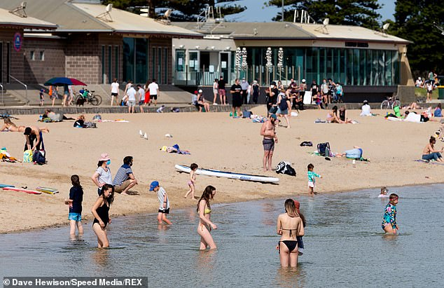 Residents are seen at Elwood Beach in Melbourne during the COVID-19 crisis this weekend