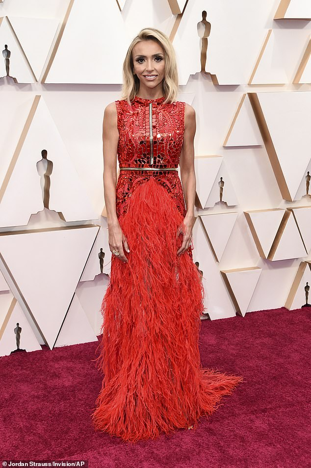 Sick day: Giuliana Rancic, 46, has revealed she will not be participating in this year's Emmy festivities after she and her entire family tested positive for coronavirus. She's seen in February above