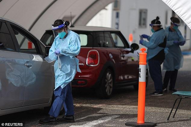 Medical staff conduct tests at the Bondi Beach coronavirus pop up testing facility on September 2