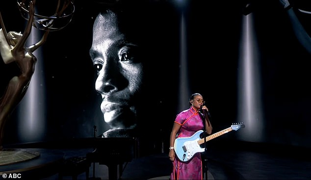 Heartfelt: The tribute concluded with the late Black Panther star Chadwick Boseman as Grammy-winning recording artist H.E.R. performed Nothing Compares 2 U