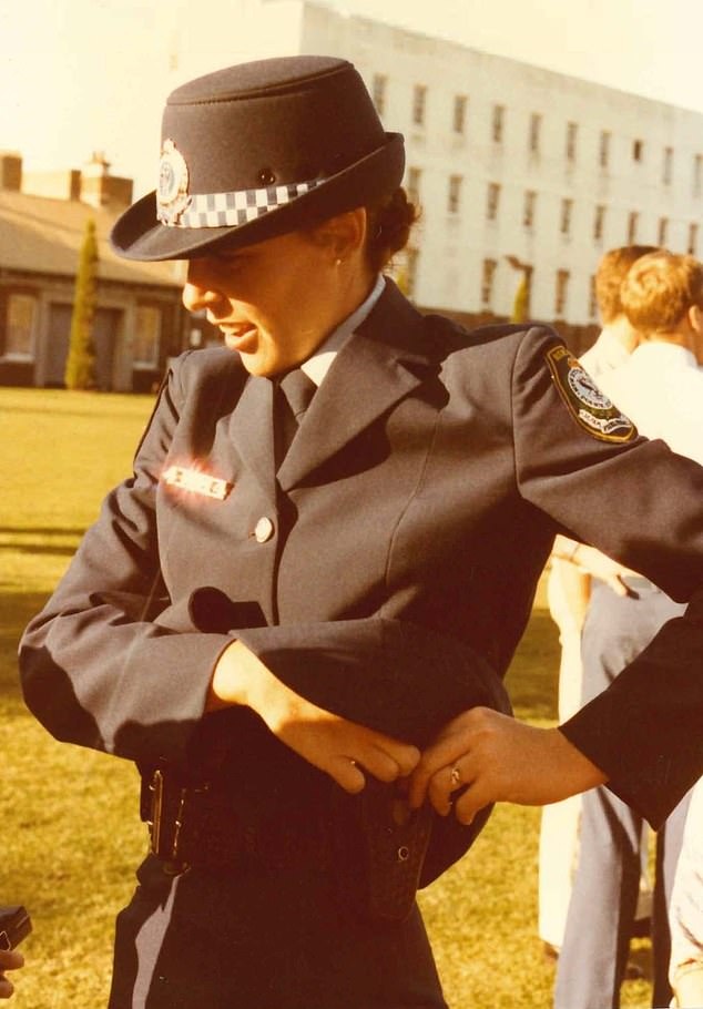 Deborah Wallace joined the New South Wales Police Force in 1983 and expected to spend her career in uniform. She rose to the rank of detective superintendent and commanded some of the state's major crime squads. She is pictured at the Redfern Police Academy in 1983
