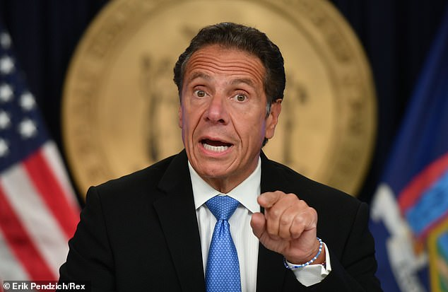 Those behind the Williamsburg mural appeared to be unhappy at the response to the coronavirus pandemic by the states governor Andrew Cuomo, pictured