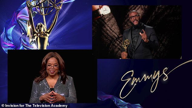 High rollers: On Sunday night, Oprah Winfrey (L) presented her fellow billionaire 'brother' Tyler Perry (R) with one of the top honors at the Primetime Emmy Awards - the Governors Award