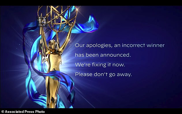 Mix up: The error occurred during Saturday's online creative arts Emmys, precursor to Sunday's main ceremony and the culmination of a week of events honoring technical and other achievements