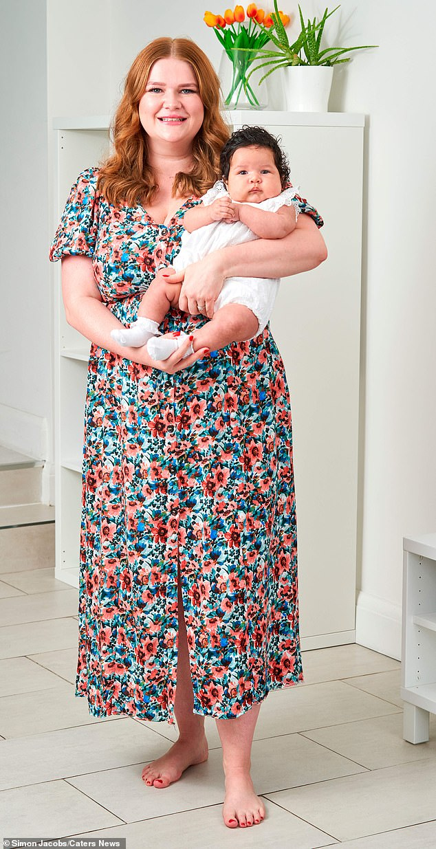 Daisy struggled to conceive after being diagnosed with endometriosis as a teenager. Pictured, with her adorable daughter Hope