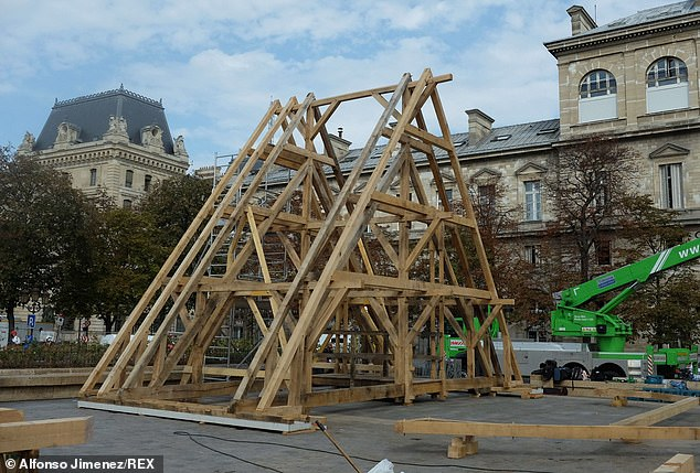 The wooden structures are a replica of those consumed in the devastating fire in April 2019 and decisions were made to replicate the cathedral in it's original form