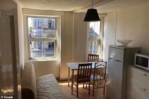 One photo shows a range of amenities placed throughout that makes it questionable if the room is a kitchen, bathroom or lounge