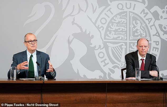 Sir Patrick Vallance today warned the UK could face 50,000 new coronavirus cases by mid-October if the spread of the disease is not curtailed. He is pictured alongside Professor Chris Whitty in Downing Street this morning