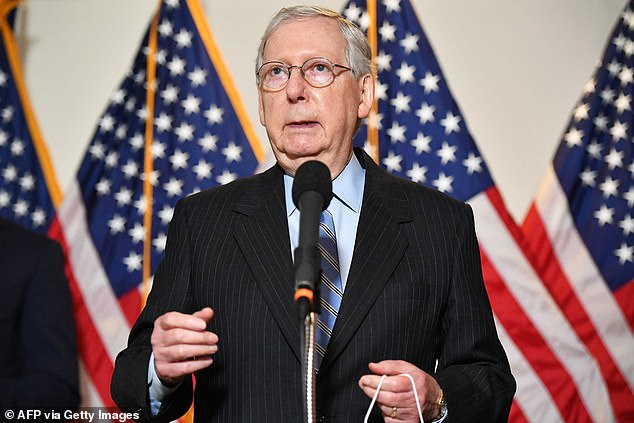 Chief Hypocrite is Senate Majority Leader Mitch McConnell (pictured) who led the block on Merrick Garland in 2016 by saying: 'The American people should have a voice in the selection of their next Supreme Court Justice. Therefore, this vacancy should not be filled until we have a new president.' On Friday, McConnell announced: 'Once again, we will keep our promise. President Trump's nominee will receive a vote on the floor of the United States Senate'
