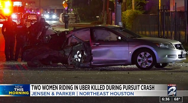 Police say Tatum was leading police on a chase with speeds topping 100mph on Saturday when he crashed into this Uber