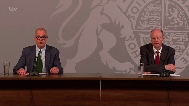 The chief scientific adviser, Sir Patrick Vallance (left), and chief medical officer for England, Professor Chris Whitty (right) this morning warned that Britain is heading for a surge in hospital cases and deaths caused by Covid-19 if it doesn't change course