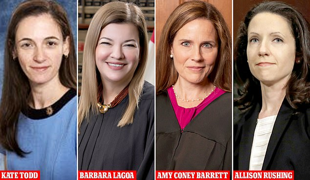 Trump said he is 'seriously considering' five or four different people for the job, as a person familiar with the process said the White House narrowed it down to four women – Amy Coney Barrett, Barbara Lagoa, Kate Todd and Allison Jones Rushing