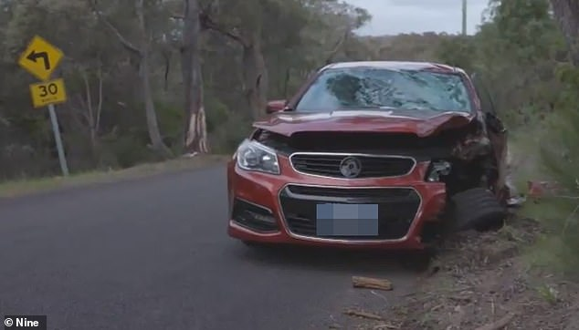 Michelle Buckley crashed her Holden Commodore (pictured) on Monday, 48 hours after her three-year-old son Jimmy went missing in dense bushland