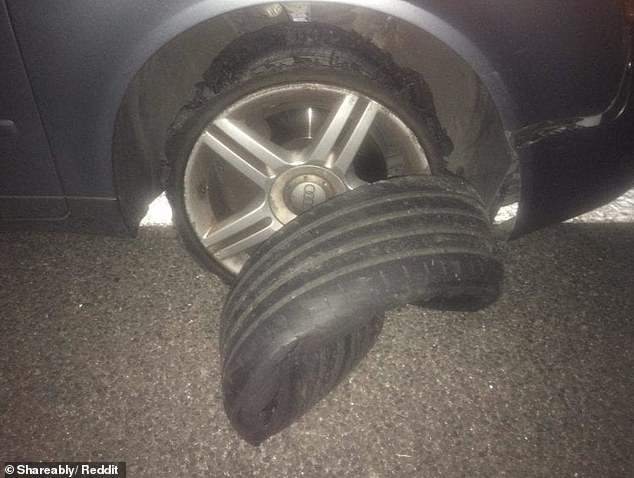 Shareably rounded up a selection of hilarious viral photographs from around the world, including a driver who suffered a tyre mishap at 2am