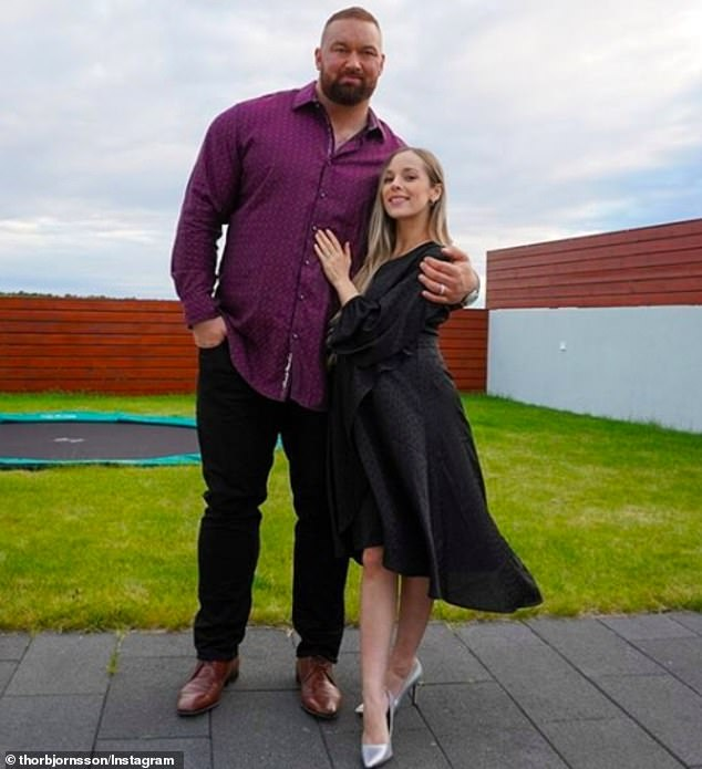 Sweet: Björnsson announced his wife Kelsey's pregnancy in April, alongside photos from their gender reveal party