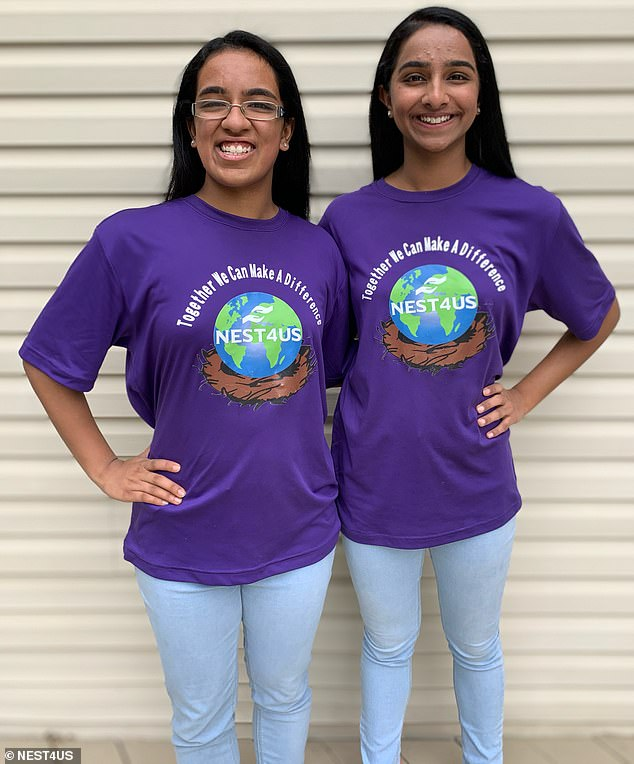 Do-gooders: Shreyaa and Esha Venkat are just 17 and 14, respectively, but the two young women have launched their own nonprofit organization called NEST4US