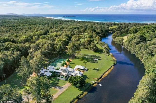 The Banskias estate (pictured) in Crescent Head on the NSW North Coast spans 48.5 hectares and includes a nine-hole golf course, tennis court and private waterway that leads out to 6km of beachfront