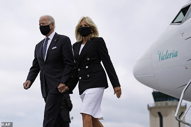 The Bidens are pictured on September 11 en route to a memorial service in Shanksville, PA