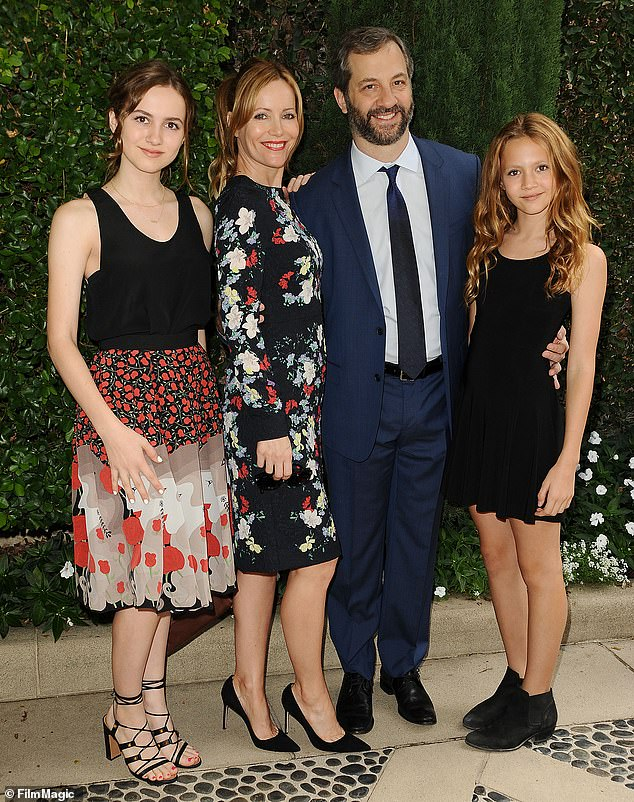 Hollywood heavy-hitters: Actress Leslie and Judd have been married since 1997 and also have a younger daughter, Iris, 17. The family is pictured here in 2015
