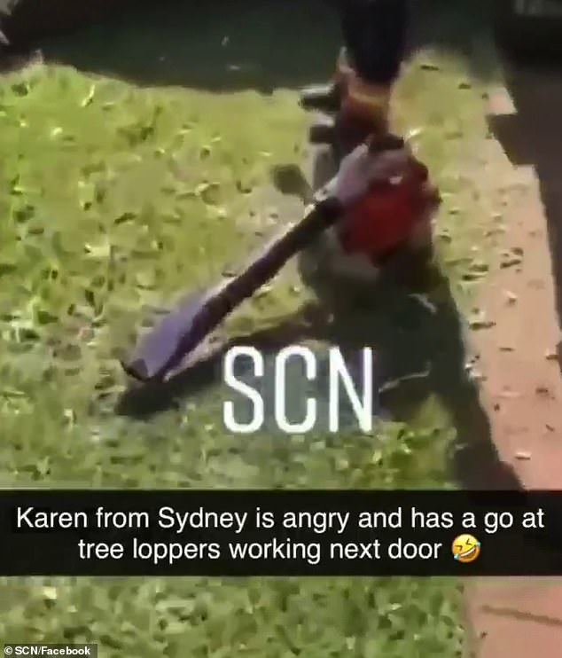 Disturbing footage has emerged showing a woman unleashing on a group of landscapers for parking their 'heavy machinery' out the front of her house