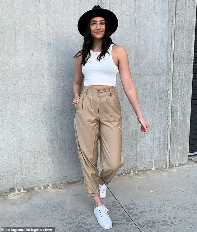 Canberra fashion blogger This is Genevieve (pictured) wears the $22 'Tapered Leg Pants' from Kmart