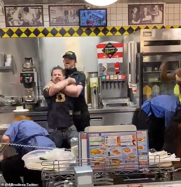 A wild brawl broke out at a Waffle House in the US. The customers apparently wanted workers to return a cell phone, while workers wanted the patrons to pay their bill