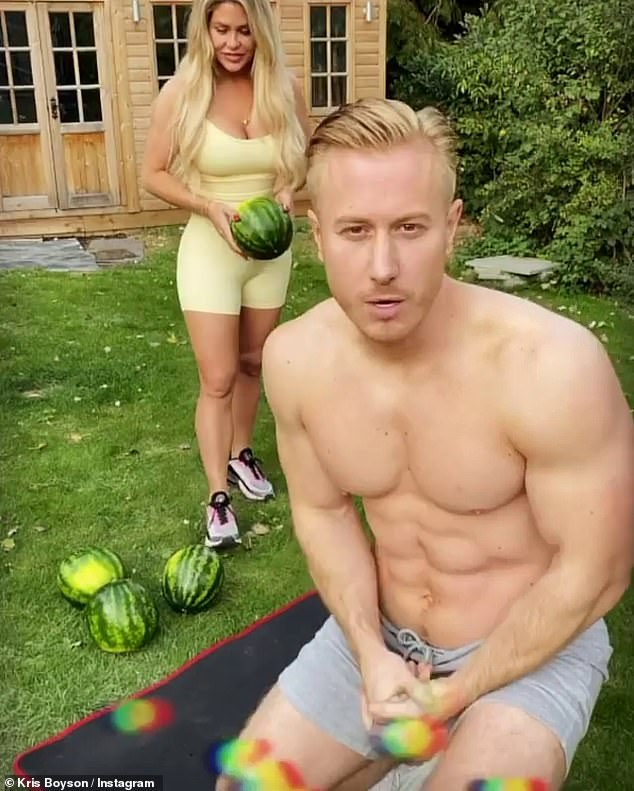 Romance: Bianca and Kris were introduced to each other three years ago when he provided her with healthy meals in preparation of a charity fight (pictured throwing watermelons)