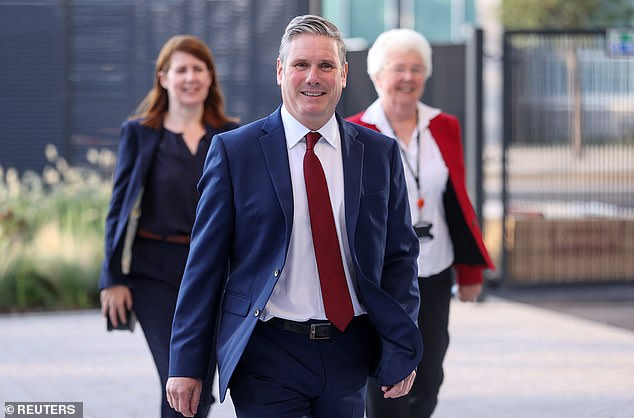 Labour Party leader Keir Starmer arriving to give his keynote speech at the virtual Labour conference alongside MP Jenny Chapman and Ros Jones, the Mayor of Doncaster, today