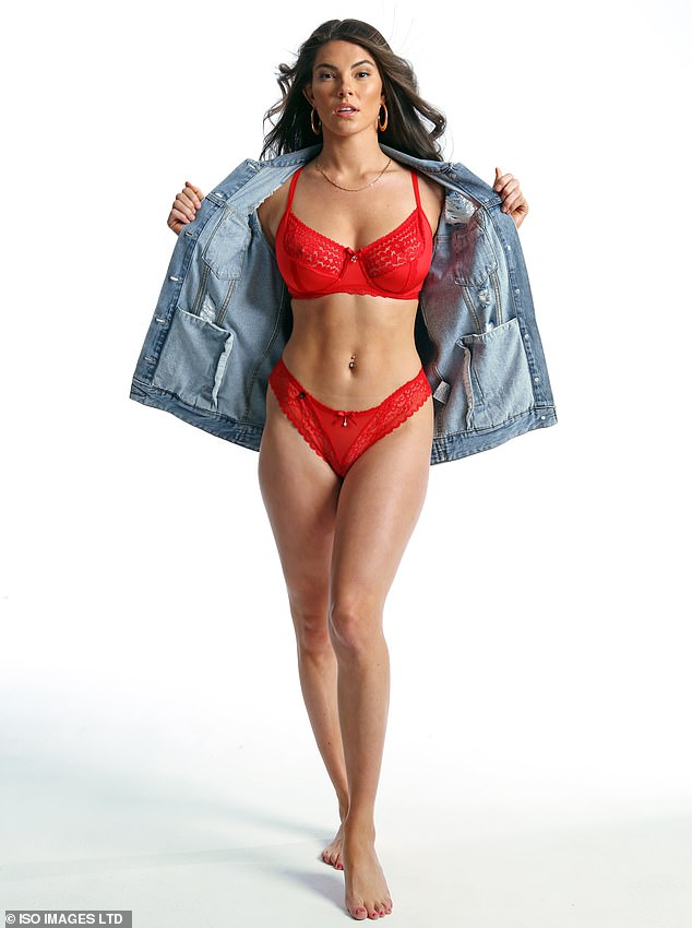 Lady in red:In another series of snaps, Rebecca wore a red lace lingerie bra and matching knickers, which she styled with an oversized denim jacket