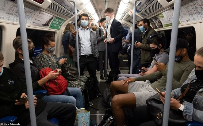 The decision to ditch the back to work drive represents a damaging moment for Mr Johnson who has been actively encouraging workers to go back to their offices. A London Underground train is pictured this morning