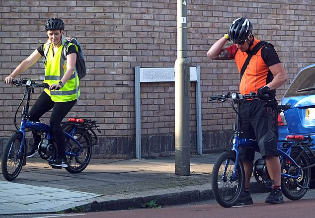 Mr Khan pushed off from outside his south London home with two protection guards wearing bright clothing and riding slightly chunkier Tern Vektron bikes which cost £3,000 (pictured)