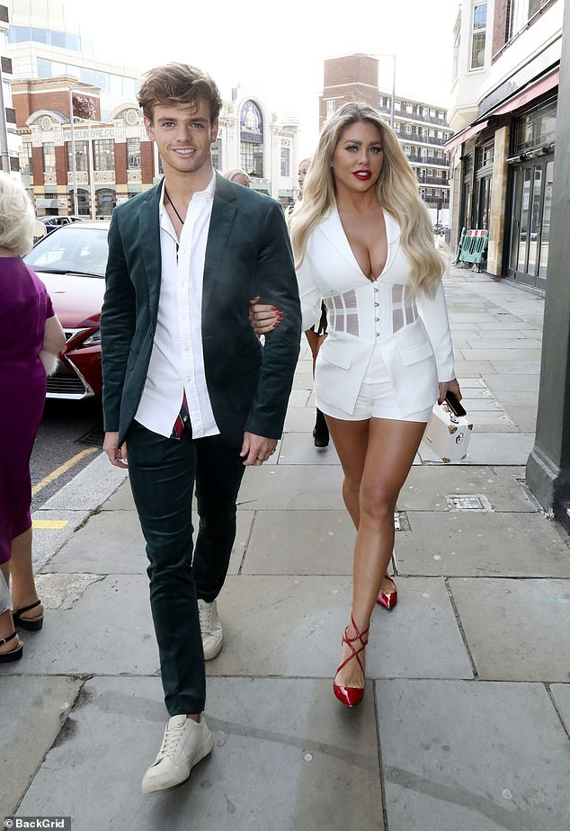 All eyes on her: Bianca Gascoigne turned heads as she stepped out with her younger brother Regan, 24, in London on Thursday