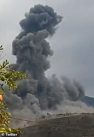 A view of today's explosion which sources said was caused by a 'technical error'