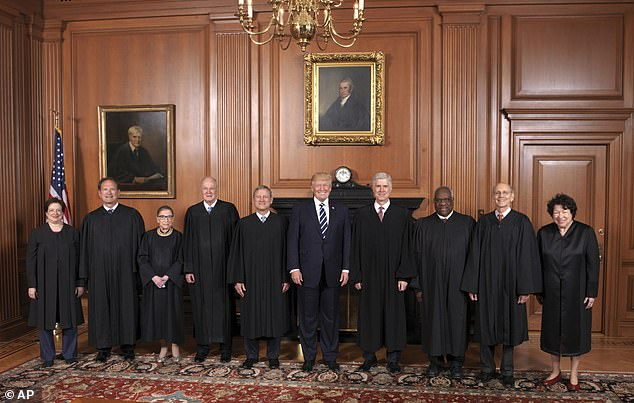 President Trump poses with the Supreme Court justices in June 2017: From left are, Associate Justices Elena Kagan, Samuel A. Alito, Jr., Ruth Bader Ginsburg, and Anthony Kennedy, Chief Justice John Roberts, Jr., the president, Associate Justices Neil Gorsuch, Clarence Thomas, Stephen G. Breyer, and Sonia Sotomayor