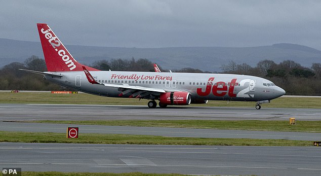 A Jet2 flight from Glasgow which was due to land in Bodrum, Turkey, was diverted to Manchester because of an 'aggressive passenger' (file image)