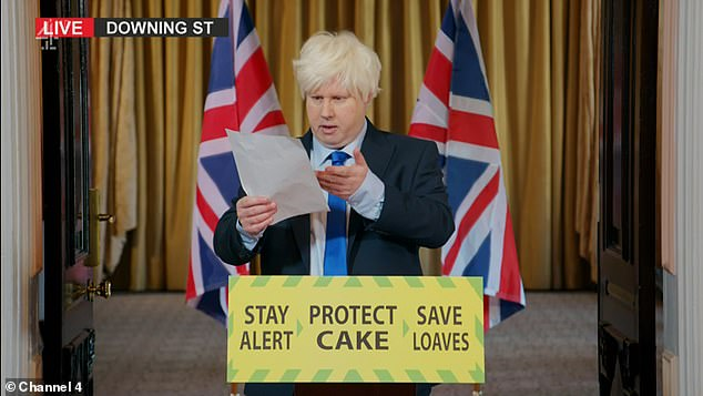 Bumbling Boris: In the skit Matt, who donned a platinum blond wig and stood in front of a Union Jack flag, and mumbled to himself in the uncanny impersonation of the Prime Minister