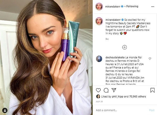 The former Victoria¿s Secret model has a successful Australian skincare line, Kora Organics, and a furniture brand, Miranda Kerr Home