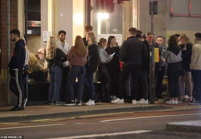Scores of revellers and students break social distancing guidelines as they gather together in the city without face masks into the small hours