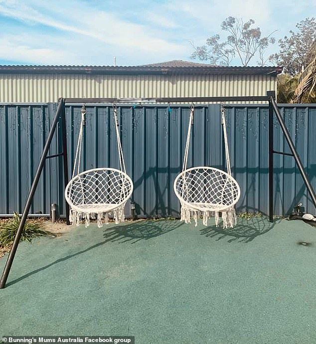 It quickly garnered attention online with hundreds of people saying they would like to try a similar 'hack' on the swing sets 'rotting away' outside (pictured is another version)
