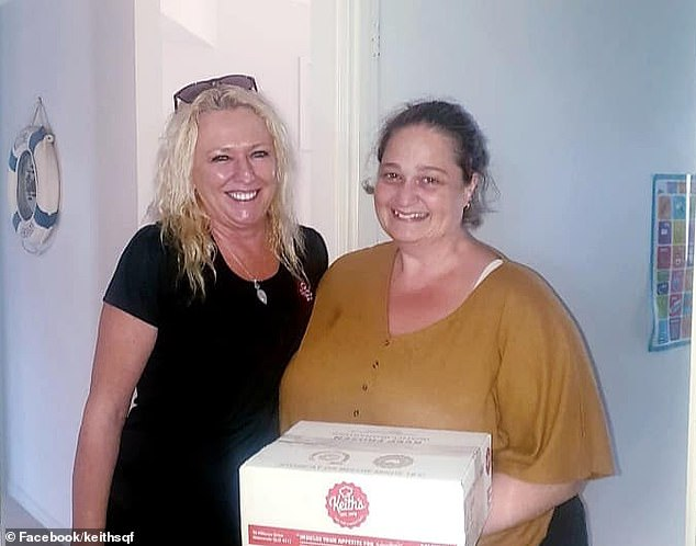 After reaching out to the company, Keith's Foods representative Karen (left) drove to Ms Page's (right) Morayfield home to deliver a free 30-pack box