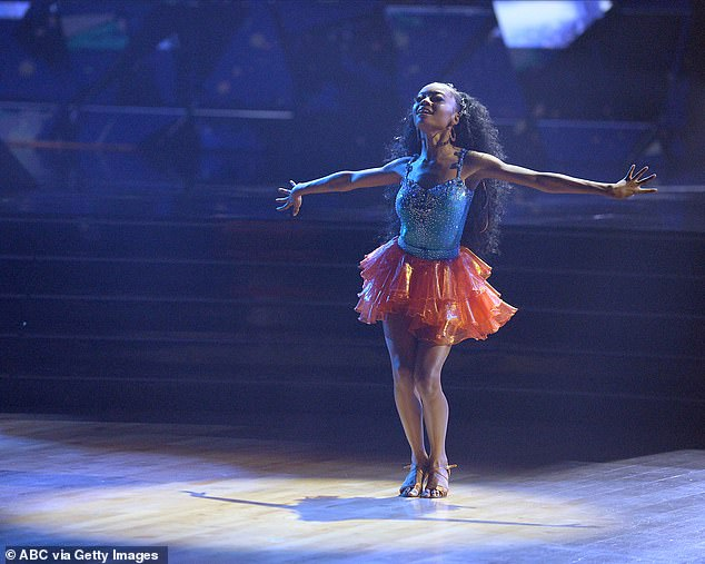 Messed up:Disney star Skai Jackson, 18, missed steps during her samba to Ne-Yo's Miss Independent with her partner, Alan Bersten, 26, and earned just 15 points