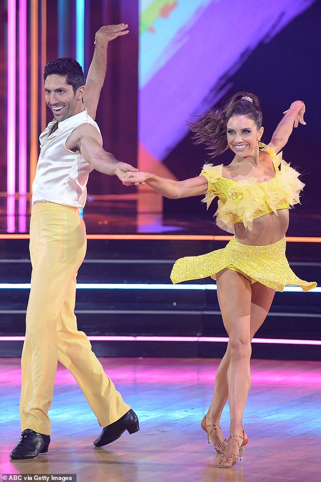 High praise:TV host Nev Schulman, 35, earned praise from Bruno for the 'dynamism' he showed in his cha cha to the new hit BTS song Dynamite with Jenna Johnson, 26
