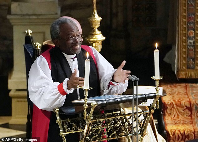 Bishop Michael Curry, 67, (pictured) claims to have felt the presence of slaves during Harry and Meghan's 2018 nuptials