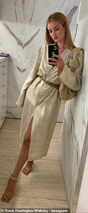 Cream of the crop: The beauty wowed with stylish cream outfits, with Rosie displaying her incredible figure in a sleek wrap dress