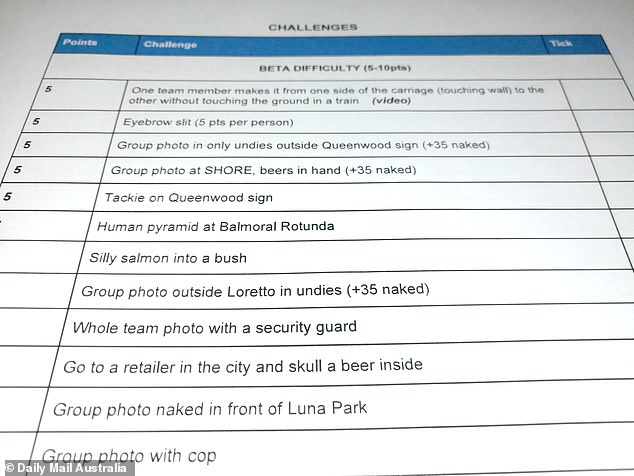 The 'rule book' - detailed by students in a PDF documents - reveals plans to meet at a park on the lower north shore on the night before the traditional celebrations