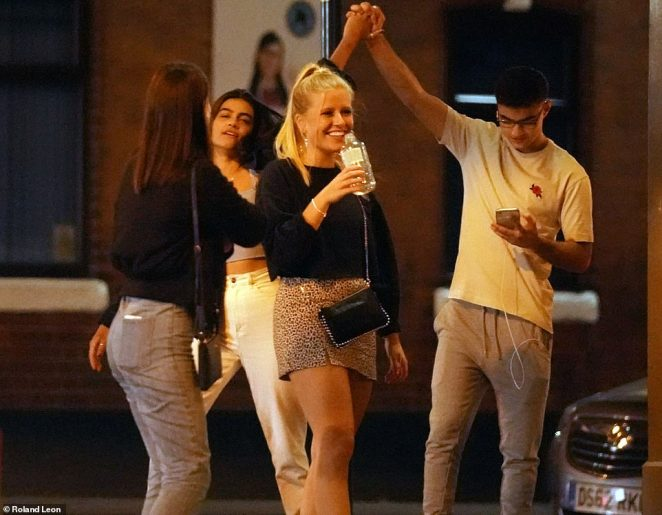 The scenes came just hours after the Prime Minister set out a raft of measures designed to clampdown on the virus, which has so far claimed more than 40,000 lives and infected more than 400,000 people in the UK. Pictured: Revellers outside a bar in Selly Oak, Birmingham, last night