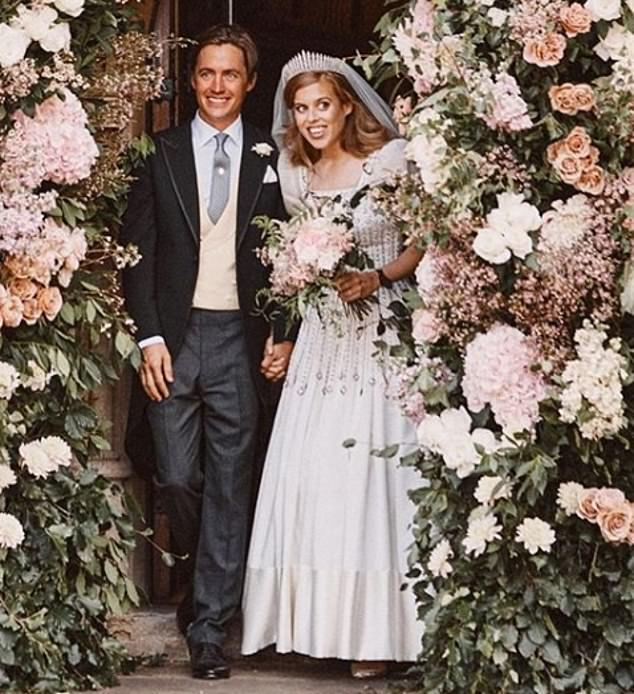 The gown was loaned to Beatrice by her grandmother for her secret, low-key wedding to Edoardo Mapelli Mozzi in July
